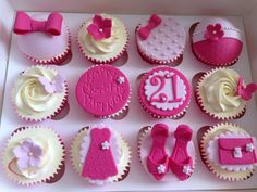Pink girly 21st cupcakes