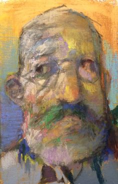 "Yellow Face Trepidation. 2015. Pastel & Oil. 11"" x 7."" Casey Klahn. Removed."