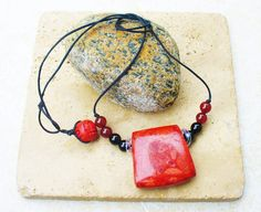 Apple Sponge Coral Beaded Pendant necklace by KipajiPraiseJewelry on Etsy