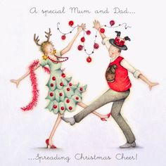 "Cards "" A special Mum and Dad "" - Berni Parker Designs ღ✟ Christmas Scenes, Christmas Love, Christmas Pictures, Christmas And New Year, Merry Christmas, Illustration Noel, Illustrations, Christmas Clipart, Christmas Greetings"