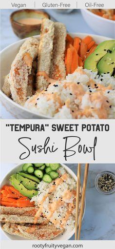 Vegan Dinner Recipes, Whole Food Recipes, Vegetarian Recipes, Healthy Recipes, Vegan Sweet Potato Recipes, Best Vegan Meals, Whole Foods Vegan, Healthy Meals, Sweet Potato Tempura