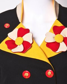 Iconic 1991 Franco Moschino Jacket with 3-D flowers on the lapels and cloud patch pockets.Detail