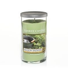 Meadow Showers Medium Perfect Pillar Candles Burn Time of up to 95 hours  About This Fragrance Take a moment in your day to appreciate the beauty in your everyday surroundings. Like the naturally tranquil and airy scent of fresh raindrops on blades of green grass. This fragrance captures the scent of those blades beautifully, romanced with subtly sweet floral and marine notes. It will have you daydreaming of quiet escapes and lush surroundings.