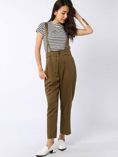 Brown pants with braces