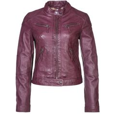 Oakwood Leather jacket ($180) ❤ liked on Polyvore featuring outerwear, jackets, coats, red, genuine leather jackets, red jacket, purple jacket, leather zip jacket and red zip jacket