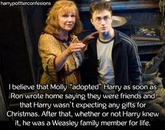 I believe that Molly adopted Harry as soon as Ron wrote home...