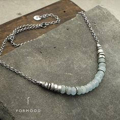Aquamarine necklace oxidized sterling silver and blue