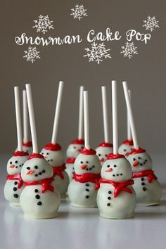 These Christmas cake pops are cute, mini versions of Frosty the Snowman!