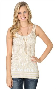 Deb Shops Metallic Crochet Tank with Solid Back $17.92