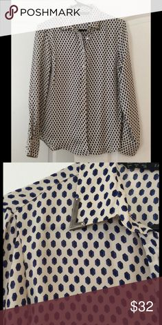 Printed top with collar detail Worn once. Button up top with metal detail on collar. Zara Tops Blouses