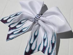 flames tails I ❤️ this bow Softball Uniforms, Softball Bows, Cheerleading Bows, Cheer Bows, Softball Stuff, White Hair Bows, Girl Hair Bows, Competition Bows, Bow Design
