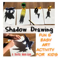 Shadow Drawing Fun Art for Kids Fun Diy Crafts, Paper Crafts For Kids, Homemade Crafts, Children Crafts, Art Activities, Fun Activities For Kids, Activity Ideas, Drawing For Kids, Art For Kids