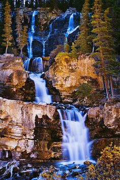 Tangle Falls At Dusk, Jasper National Park,  Alberta - by Yves Marcoux [fineartamerica]