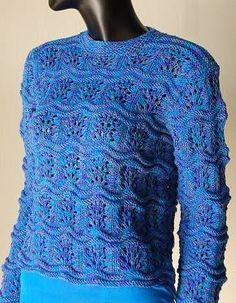 Free Knitting Pattern - Women's Pullovers: Ripple Eyelet Pullover