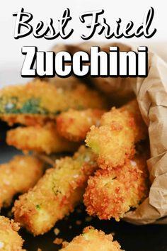 Fried Zucchini Batter, Fried Zucchini Sticks, Fried Zucchini Recipes, Zucchini Fries, Vegetable Recipes, Fried Zuchinni, Best Side Dishes, Side Dish Recipes, Appetizer Recipes