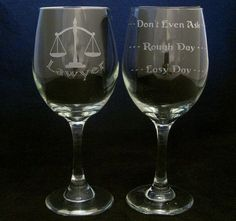 Lawyer Good Day Bad Day Wine Glass Christmas gifts, Birthday gifts, Lawyer gifts