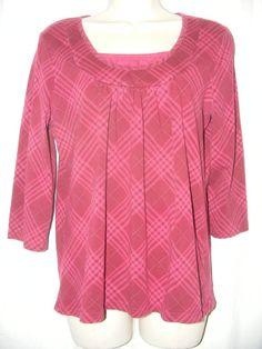 Christopher & Banks Dark Pink Burgundy Plaid Cotton Blend Stretch Top M #ChristopherBanks #Blouse #Casual