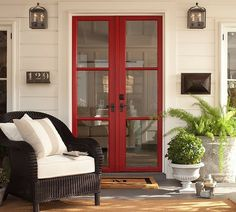 red french doors.