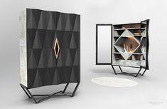 Cabinet / armoire béton et cuir recyclé, by Jimmy Delatour. Cabinet wardrobe, concrete and recycled leather. www.delatourdesignlab.com Furniture design, design de mobilier.