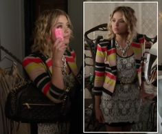 Hanna's striped blazer and white lace dress on Pretty Little Liars.  Outfit Details: http://wornontv.net/4019/ #PLL