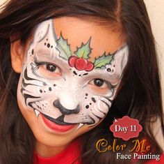 25 Days of Christmas Face Painting. A snowy Christmas tiger - Color Me Face Painting
