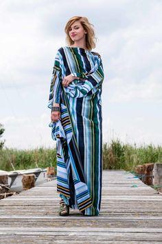 Tunika 'cover me up' C18-038  faszinierendes geometrisches Muster, bodenlange Tunika, Mischgewebe, Streifen Couture, Up, Kimono Top, Cover, Fashion, Del Mar, Tunic, Stripes, Patterns