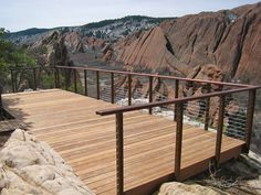 January 2013 Photo Contest Place Winner: CableRail Standard Assemblies installed in custom frames at the Lyons Overlook Deck at Roxborough State Park, Posts are weathering steel tube), Cap Rail is ipe (ironwood) rabbeted over a flat steel bar.
