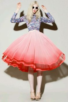 Pink Ombre Tulle Skirt with Blue Patterned Button Down