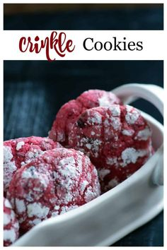 Cherry chocolate crinkle cookies are not just for Christmas. Cherry preserves and bits of chocolate combine for a tasty treat any time of the year. Great for a cookie exchange! Single Serve Desserts, Desserts For A Crowd, Winter Desserts, Great Desserts, Party Desserts, Delicious Desserts, Holiday Desserts, Hot Fudge Cake, Hot Chocolate Fudge