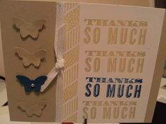 Nice thank you card using Oh, Hello and butterfly punch
