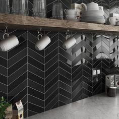 Arrows Gloss Black | Chevron Tiles | Porcelain Superstore