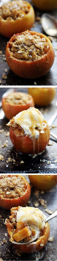 Apple Crisp Stuffed Apples - this is what fall is all about! 30 minutes start to finish and the flavor is out of this world amazing! | lecremedelacrumb.com | #Fall_baking #holiday_desserts @cremedelacrumb