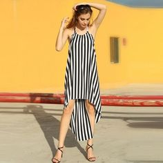 Ladies Women Sexy Halter Sleeveless Splicing Striped Asymmetric Hem Backless Party Dress