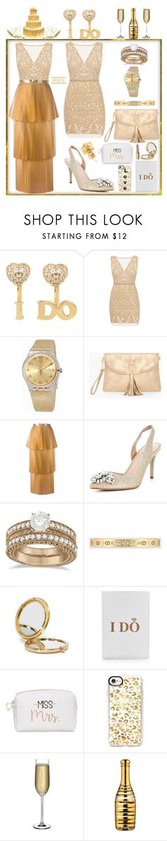 """A GOLD WEDDING"" by carolsha ❤ liked on Polyvore featuring Betsey Johnson, Nicole Miller, Swatch, Chico's, STELLA McCARTNEY, Carvela, Allurez, Gucci, Odeme and Boohoo"