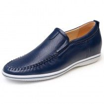 2015 Blue height increasing drive shoes 6cm / 2.36inches slip-on elevator loafers on sale at topoutshoes.com