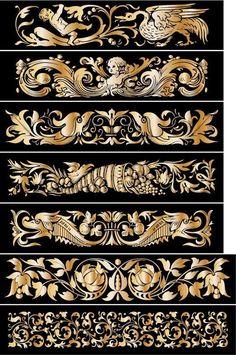 (53) Одноклассники Filigree Tattoo, Leather Working Patterns, Wood Appliques, Decoupage, Engraving Art, Turkish Art, Gold Work, Vintage Ornaments, Border Design