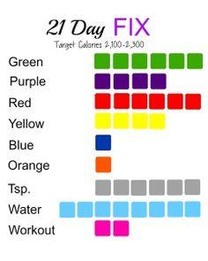 2100-2300 Calories; 21 Day Fix; printable