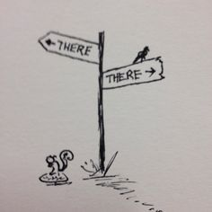 What way will your week go? Happy Monday! #doodle #ink #felttip #sketch #mondaymotivation #squirrel #crossroads #drawing #art #myart