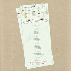 Vintage Hanging Mason Jars Custom Menu Card- Bridal, Baby Shower, Rehearsal Dinner, Engagement, Anniversary Party, Bridesmaids Luncheon