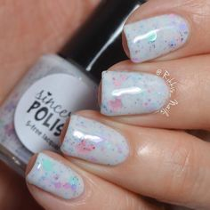 I have swatches to share with you all today of a beautiful NEW Spring collection by @sincerelypolish!  First polish is 'Spring into Wonderland' from the new Spring into Wonderland Collection inspired by Alice in Wonderland. This white crelly is full of pastel colored glitters including butterflies with a hint of holo. I'm wearing three easy-to-apply coats and top coat. Collection releases 3/19 10:00 a.m. CST!  Follow Karen for updates @sincerelypolish!  #SincerelyPolish #Rikkis_nails_ by…