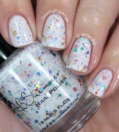 Oh Splat White Glitter Nail Polish with Rainbow Glitters-goes with everything, festive nail polish, perfect for summertime, beach nail polish
