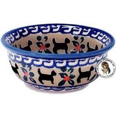 Unikat Polish Potter Berry Bowl Cat Pattern