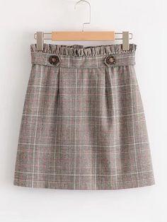 Frill Waist Glen Plaid Skirt