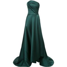 Jason Wu strapless asymmetric gown ($6,850) ❤ liked on Polyvore featuring dresses, gowns, green, skater skirt, long circle skirt, green gown, long evening dresses and strapless gown