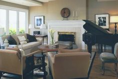 Living room layout with fireplace and baby grand piano. It's a pain to figure out where to put my big piano in my narrow living room. Piano Living Rooms, Beige Living Rooms, Piano Room, Living Room With Fireplace, Living Room Colors, Formal Living Rooms, Home Living Room, Living Room Designs, Living Spaces