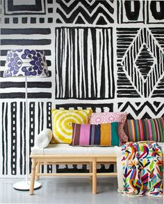 Cool wall design with colorful accent pillows