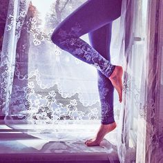 Frost crystals  cold grey leggings with greyish ice by ZIBtextile, $45.00