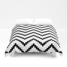 Tribal Chevron W&B Duvet Cover by bitart Pillow Shams, Bed Pillows, Pillow Cases, Shades Of White, Black And White, Uo Home, Nordic Home, Scandinavian Bedroom, Soft Duvet Covers