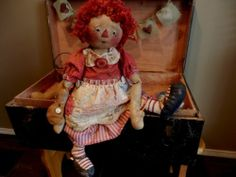 Primitive RaGGeDy ANN DoLL with AnTiQuE QuiLT BaLL and ApRon ViNTaGe FaBRiCs