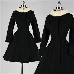 vintage 1950s coat . LILLI ANN . black wool by millstreetvintage